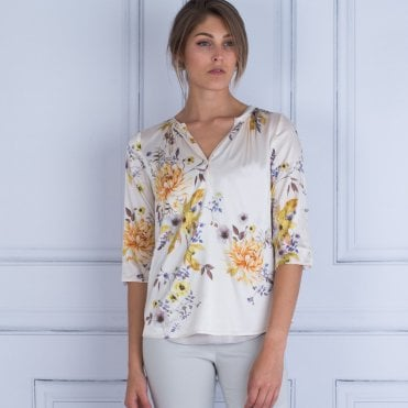 Dea Kudibal Natalie Exclusive Floral Print Silk Blouse Vanilla & Yellow