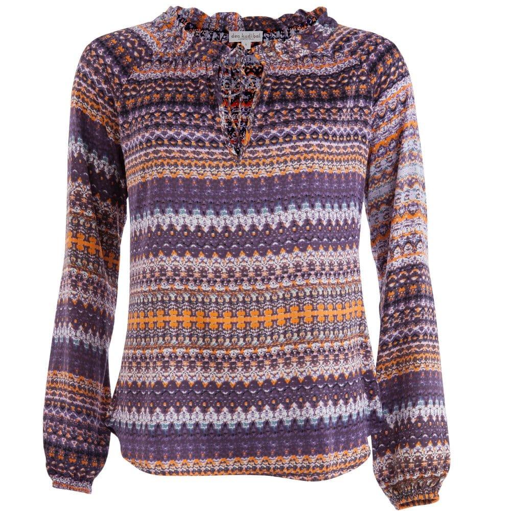de67058c4da7e8 Dea kudibal patterned silk blouse with gathered neck purple orange jpg  1000x1000 Patterned silk shirt