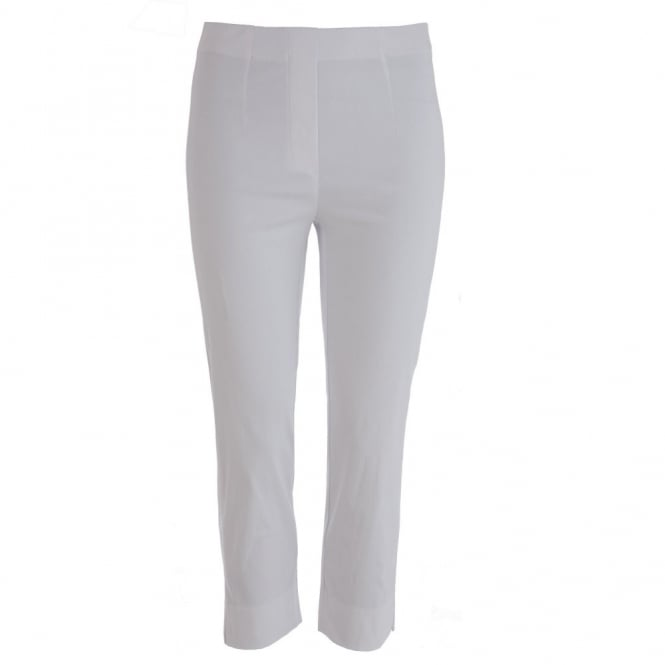 DECOLLAGE Narrow Leg Cropped Trousers in White