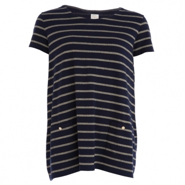 Gudias A Line Lurex Stripe Tunic in Navy & Gold