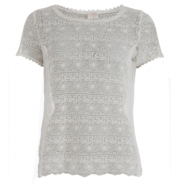 Marelle Lace T Shirt in Cream