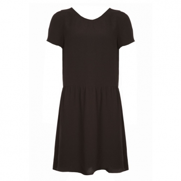 V Back Viscose Dress in Black