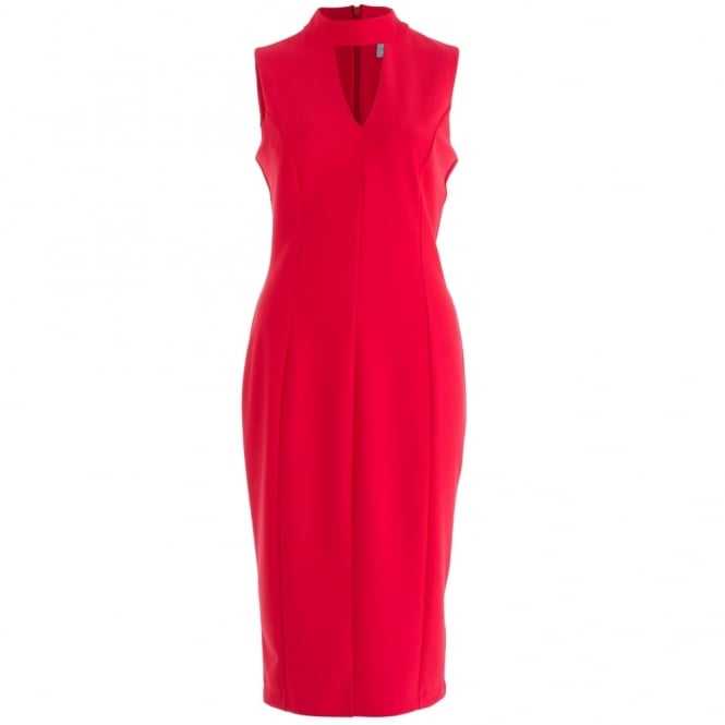 DIVA Bodycon Dress With Choker Neck In Red
