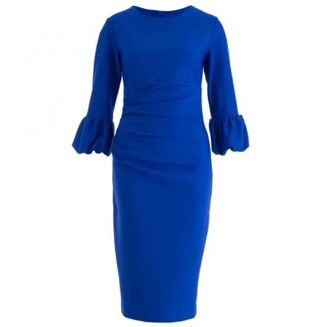 DIVA Bubble Sleeve Fitted Dress In Cobalt Blue