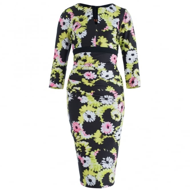 DIVA Citrus Print 3/4 Fitted Dress In Pink, Yellow & Black