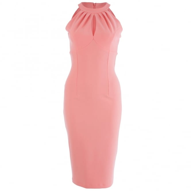 DIVA Halter Neck Sleeveless Fitted Dress in Peach