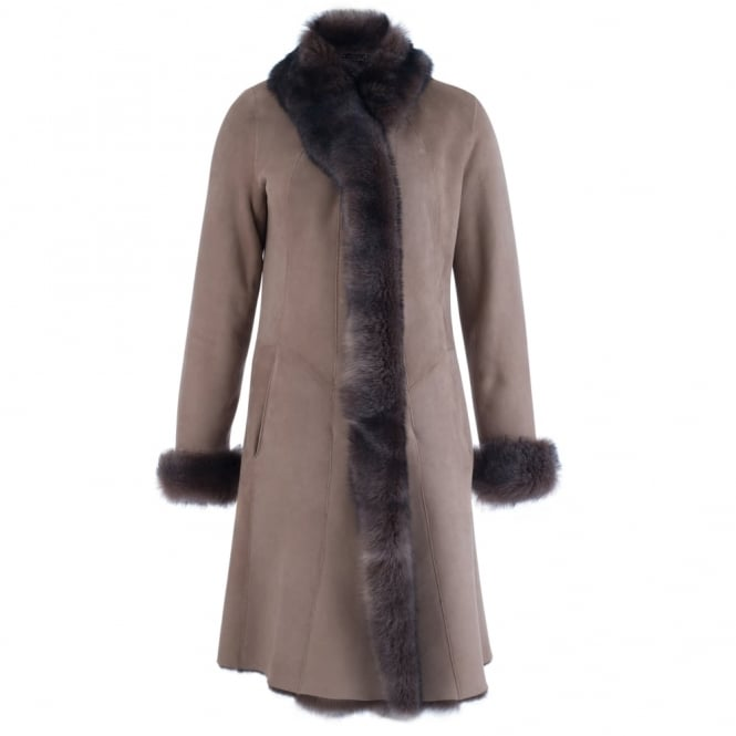 Classic Long Sheepskin Coat In Brown