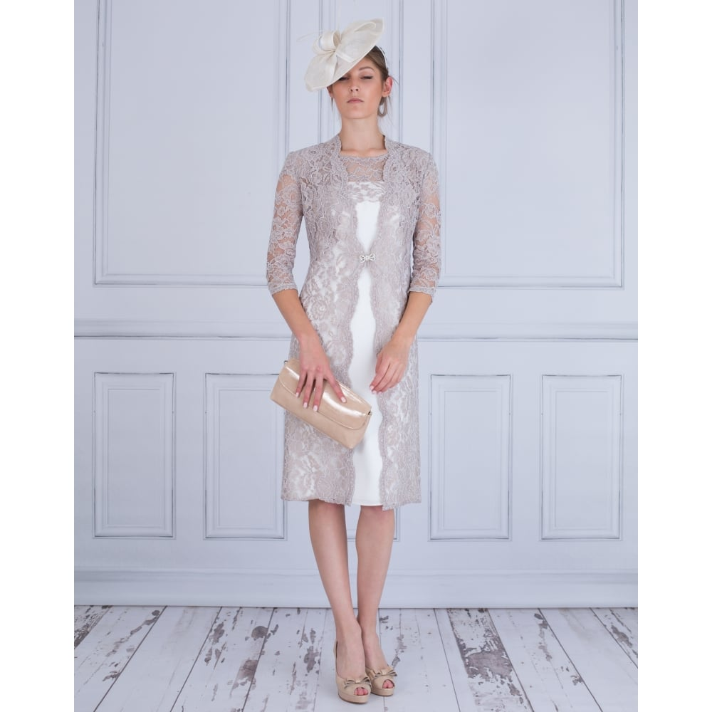 74ee077ed97 Dress Code by Veromia Lace Coat with Lace Top Mesh Dress Ivory Coffee