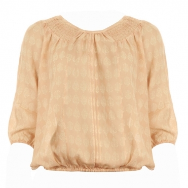 Scoop Neck Blouse With Elasticated Hem And Cuffs in Apricot