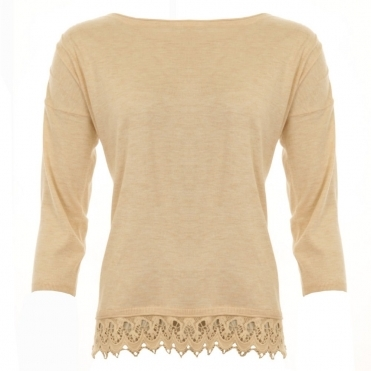 Slash Neck Fine Knit With Lace Hem in Nude