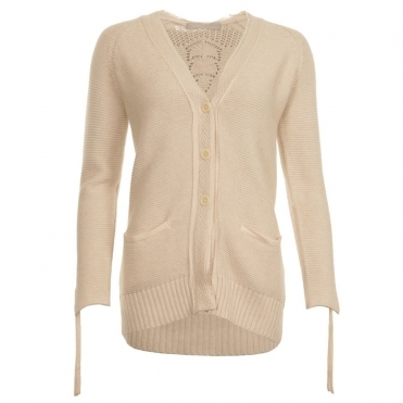 V Neck Cotton Cardigan With Concealed Pocket in Off White