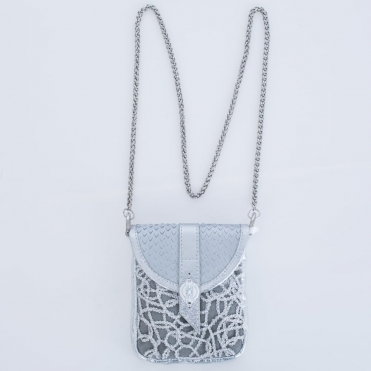 Crossbody Chain Metallic Multiway Bag In Silver