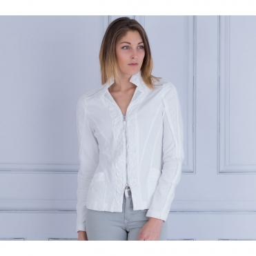 Diamonte Shoulder Jersey And Denim Jacket In White