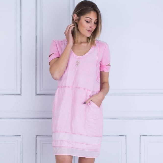 ELISA CAVALETTI Jersey And Linen Dress With Panel Hem And Pocket In Pink