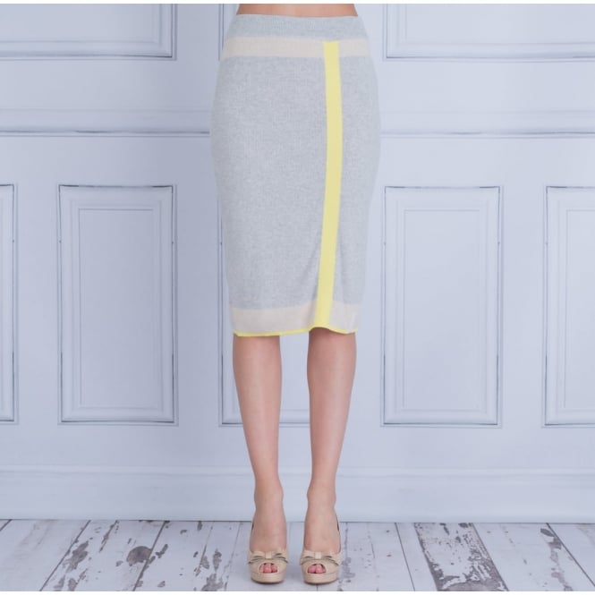 ELISA CAVALETTI Knitted Fitted Skirt With Stripe In Grey & Yellow
