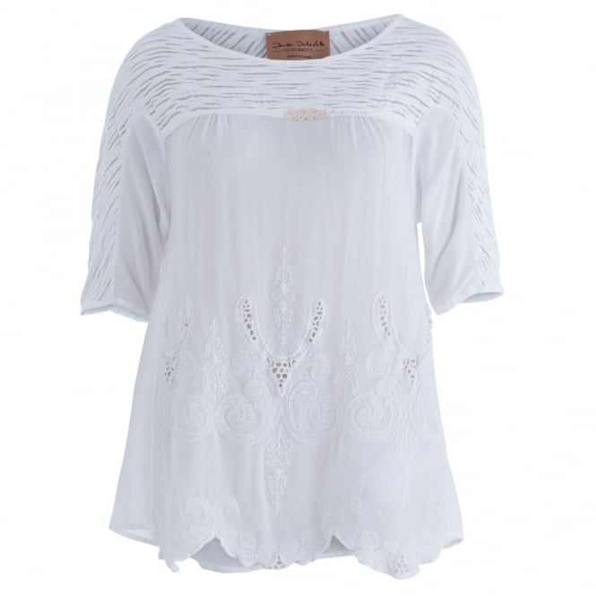 ELISA CAVALETTI Ribbed And Embroidered Viscose Blouse In White