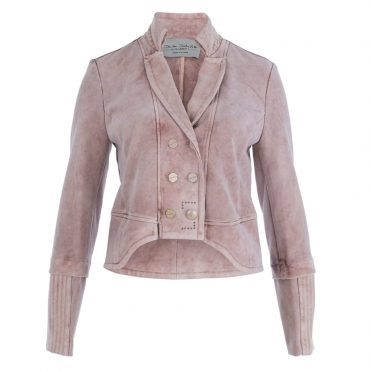 Shaped Front Short Jacket In Antiqued Pink