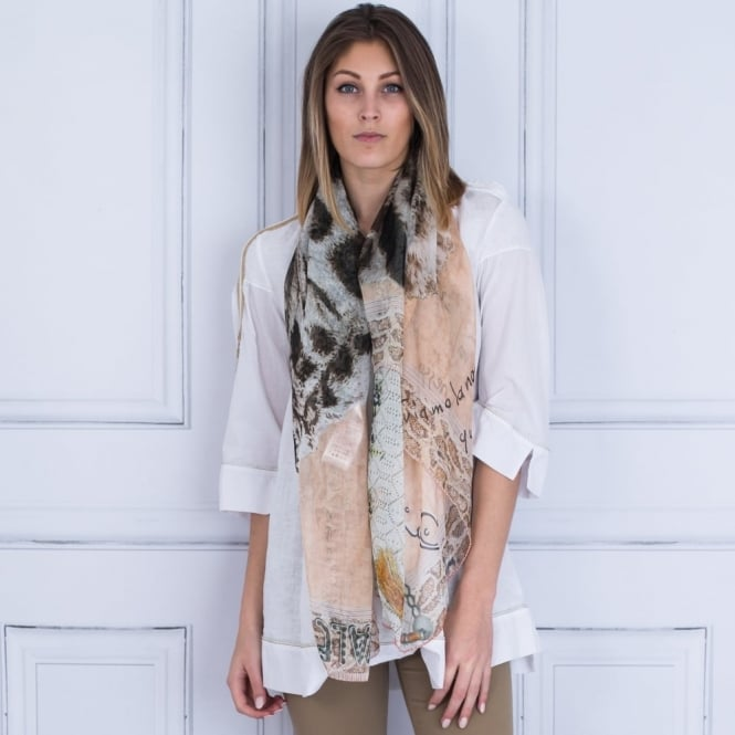 ELISA CAVALETTI Silk Printed Scarf In Apricot