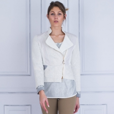 Textured Jersey Embellished Biker Jacket In Off White