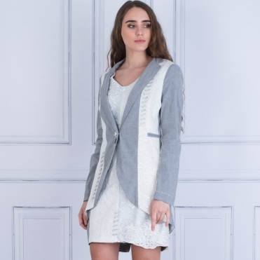 Tie Back And Lace Jacket In Grey & White