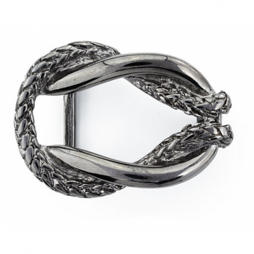 Double Layer Entwined Buckle In Pewter