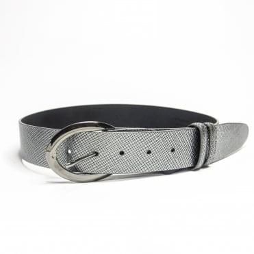 Python Look Leather Belt In Metallic Silver