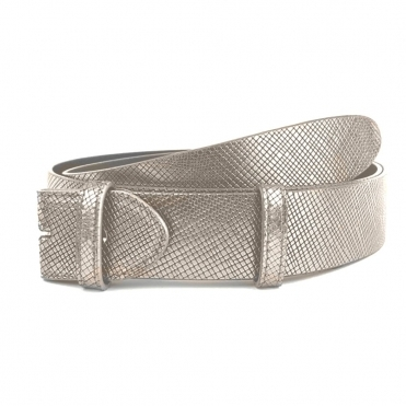 Snakeskin Effect Leather Belt In Taupe