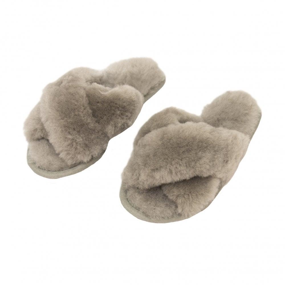 fe91833ce323b Emu Australia Mayberry Cross Front Fur Slipper W11573Dove Grey