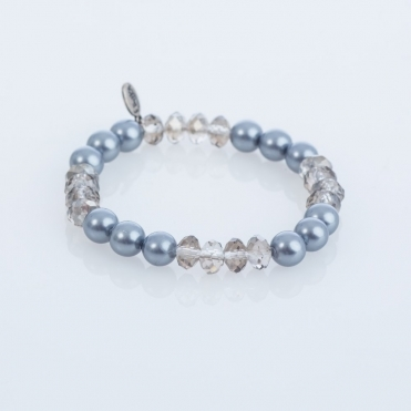 Pearl And Crystal Bracelet in Grey
