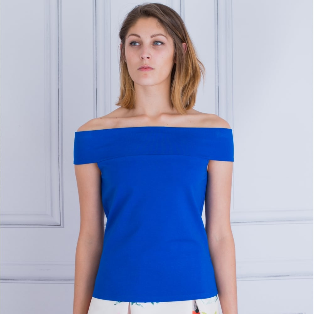 4ae16d4f56a88b Fee G 157 555 Off The Shoulder Bardot Top In Electric Blue