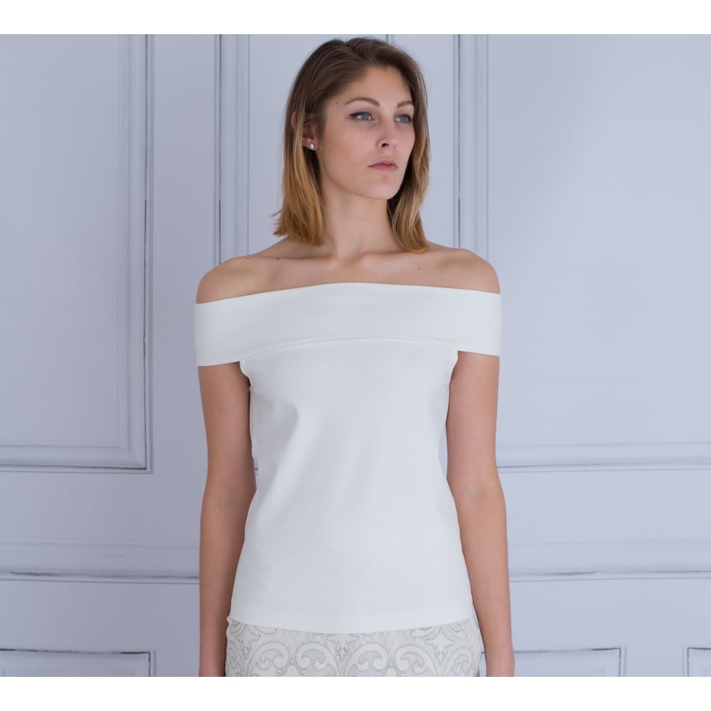 51d5bab7696d4c Fee G 157 555 Off The Shoulder Bardot Top In White