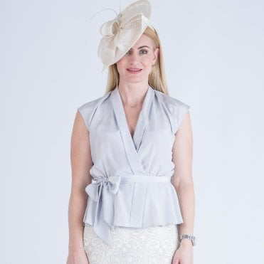d86c416074c Fee G Sleeveless Tie Waist Wrap Blouse Silver Grey