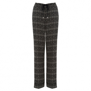 Femi Easy Leg Printed Platso Pant with Drawstring Waist in Black & Ecru