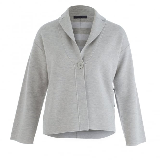 FFC One Button Marle Jacket With Stripe Lining In Grey Marle