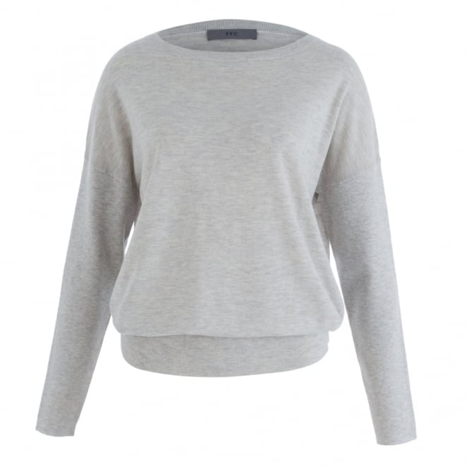 FFC Slash Neck Loose Bodied Wool Cashmere Jumper In Grey Marle