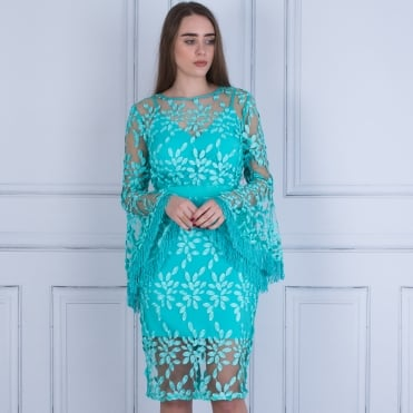 Ariel Embroidered Dress With Tassel Flute Sleeve In Aqua