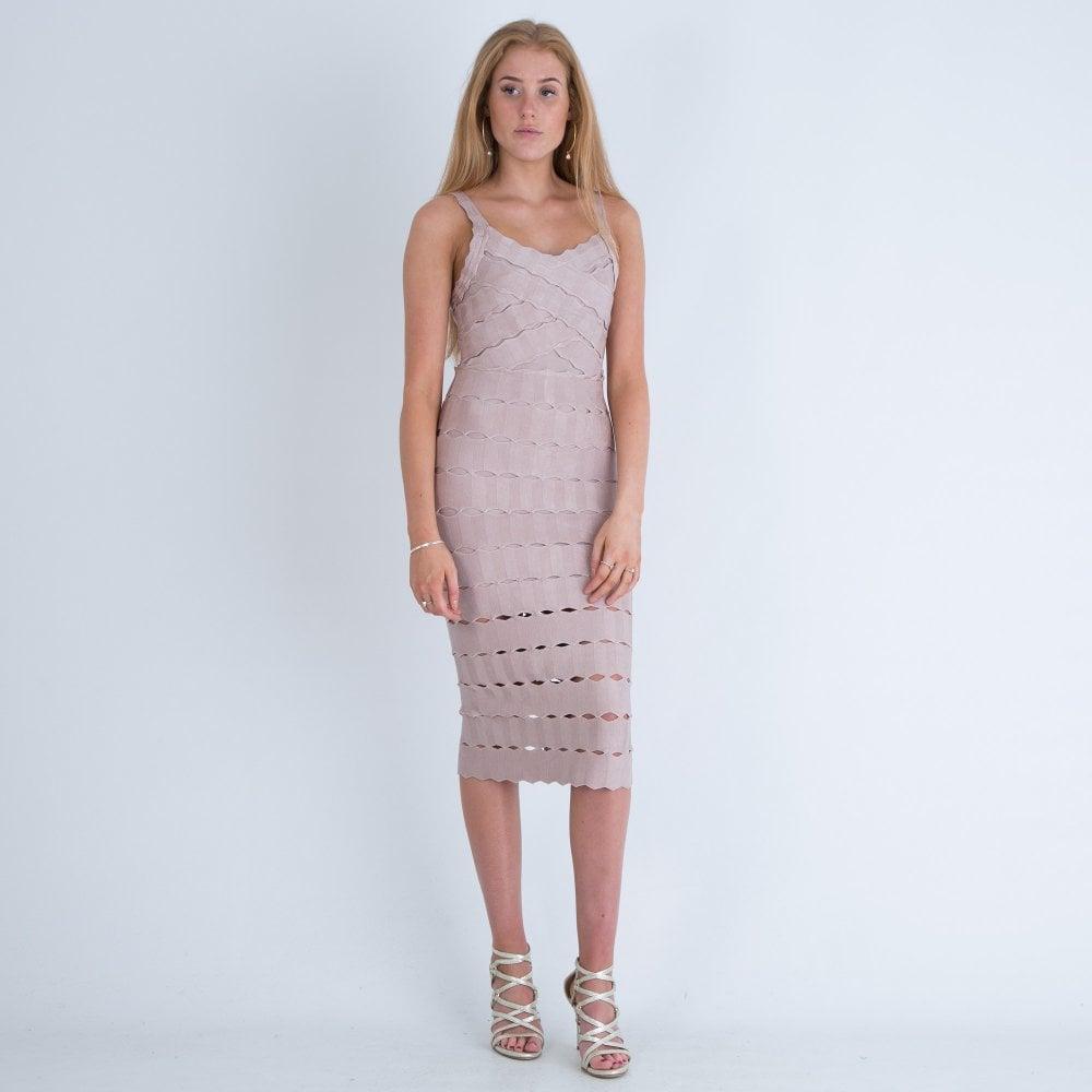 6844a12615e3 Forever Unique Ascari Bandage Bodycon Midi Dress Nude | Sister Sheffield