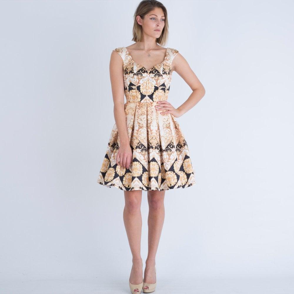 ae72e8caf339 Forever Unique Baroque Print Sweetheart Skater Dress Black Gold
