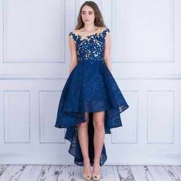 Breeze High Low Lace Bodice Dress In Navy