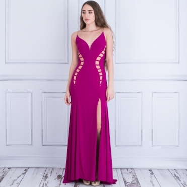 Courtney Long Evening Dress With Mesh Cut Out In Magenta