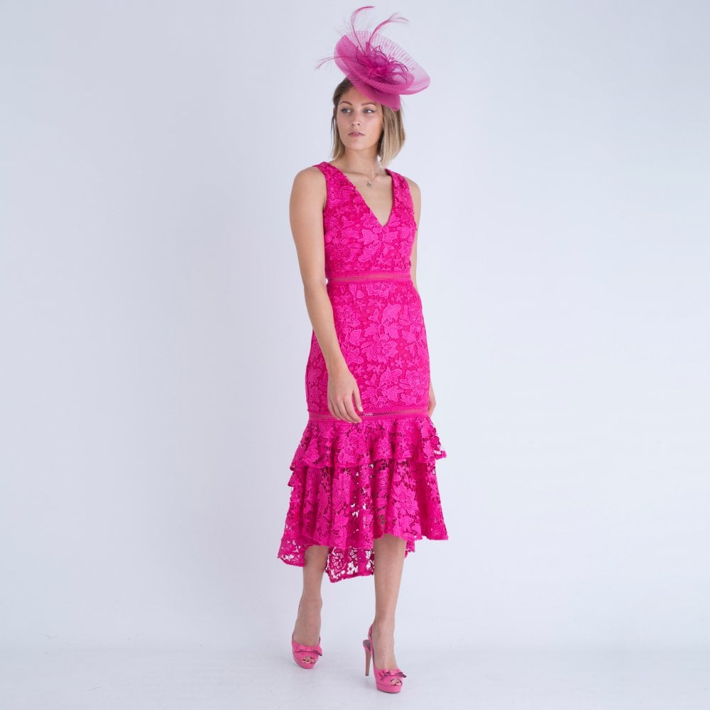 nice cheap 60% clearance where to buy Floral Lace Embroidered Midi Dress With Ruffle Drop Hem Pink