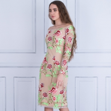 Hazel Embroidered Floral Dress With Nude Lining In Nude Floral