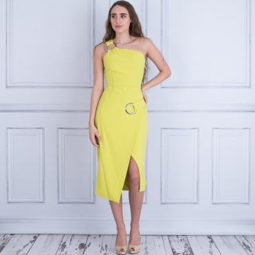 Kayla One Shoulder Dress With Ring Detail In Lime