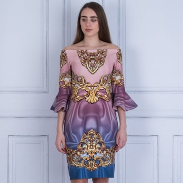 Forever Unique Opal Baroque Print Fitted Dress Antique Plum