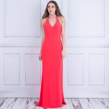 Promise Long Maxi Dress With Choker Neck In Coral