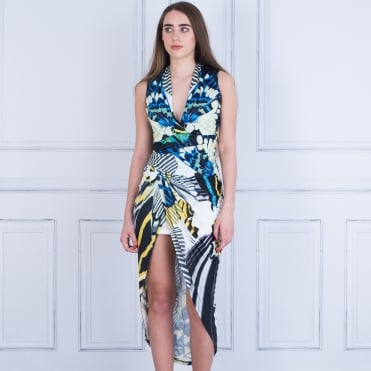 Forever Unique Raquel Jersey Dress Butterfly Print White/blue