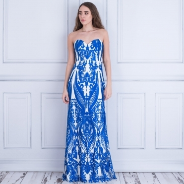 Rococo China Print Dress Balconet Style In Cobalt & White