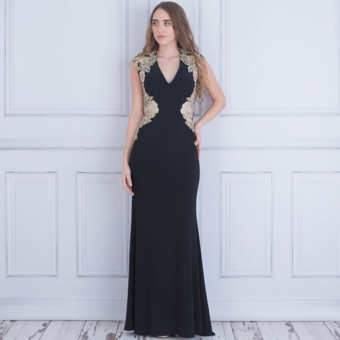 FOREVER UNIQUE Sidney Long Evening Dress With Cut Out Back In Black