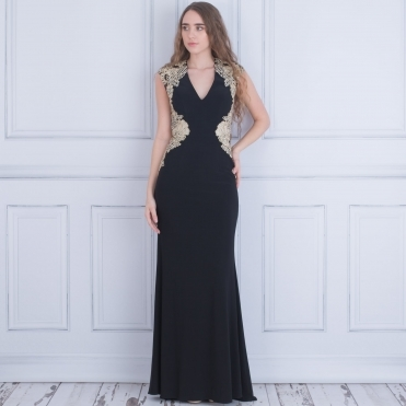 Sidney Long Evening Dress With Cut Out Back In Black