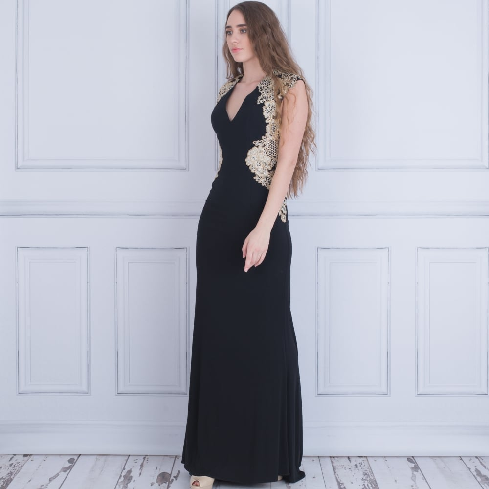 Forever Unique AB6801 Sidney Evening Dress With Cut Out Back In Black